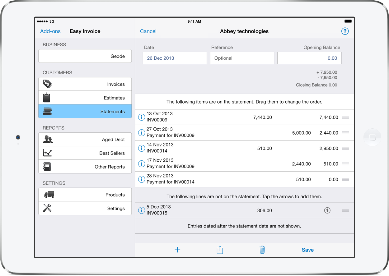 pdf invoicing for ipad iphone and mac easy invoice customer statements